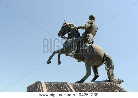 General Ermolov Monument In Orel, Russia Against Clear Blue Sky
