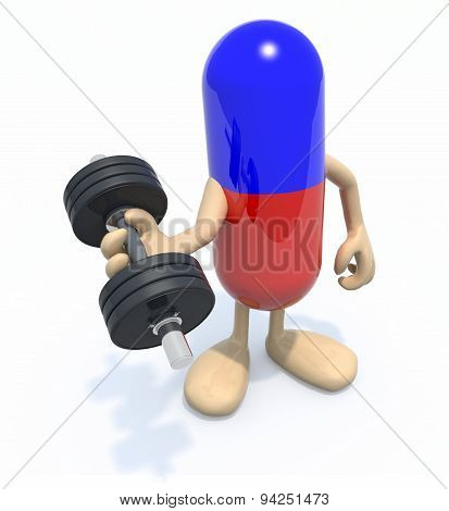Pill With Arms And Legs Doing Weightlifting