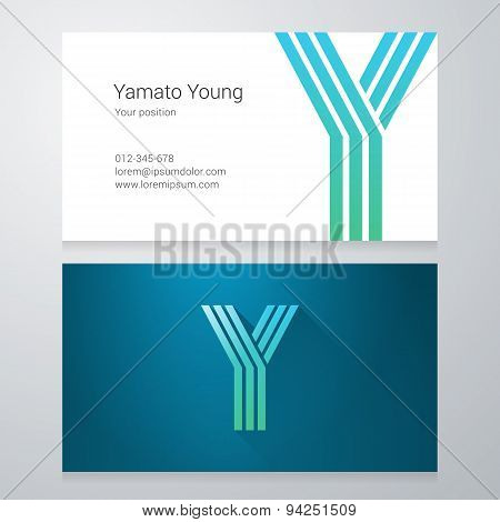 Letter Y Business Card Template