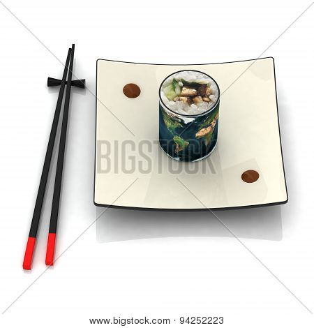 Plate Of Sushi With Earth Map