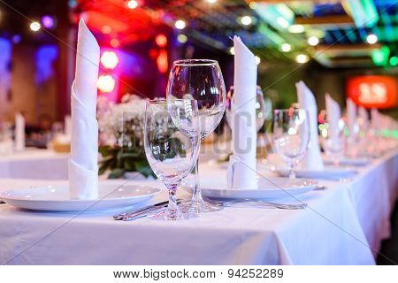 Table setting in a Restaurant with Wine Glasses