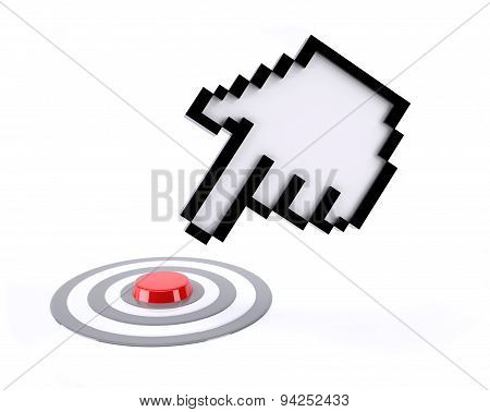 Hand Icon Pointer Click On Red Button