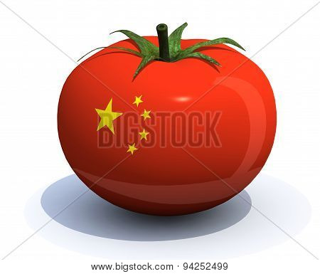 Tomato With Chinese Flag