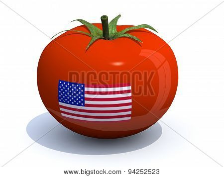 Tomato With American Flag On The Peel