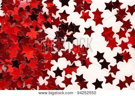 Confetti In The Form Of Red Stars Background