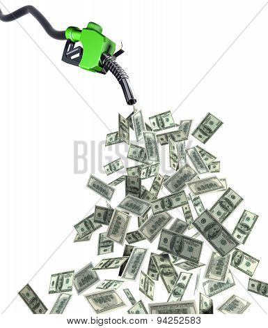 Fuel Nozzle With Dollar Banknotes