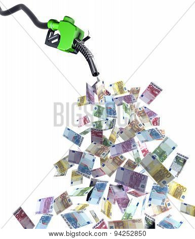 Fuel Nozzle With Euro Banknotes