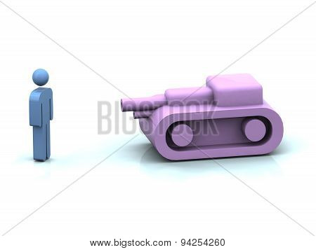 Pink Toy Tank Vs Man Symbol
