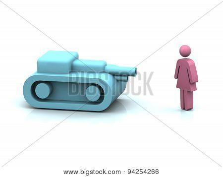 Blu Tank Vs Woman Symbol