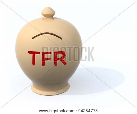 Sad Piggy Bank With The Words Tfr