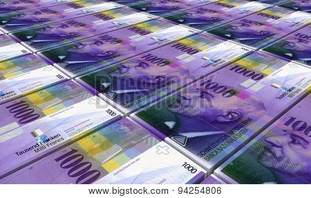 Swiss franc bills stacks background. Computer generated 3D photo rendering.