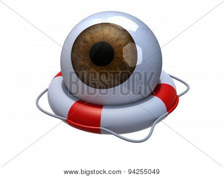 Brown Eyeball In Lifebuoy Over White