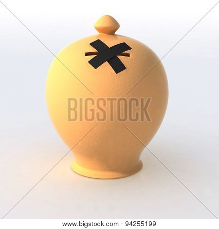 Ceramic Money Box With Hole Closed By Scotch Tape