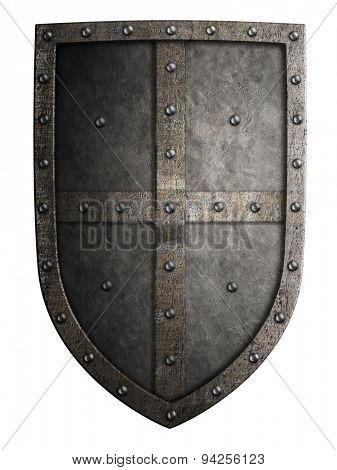 Big medieval crusader's metal shield isolated