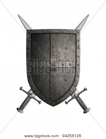 medieval crusader knight shield and two swords isolated