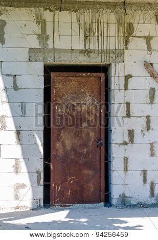 Old metal door with rust.