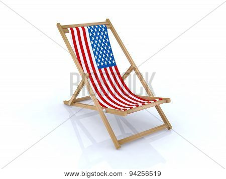 Wood Beach Chair With American Flag