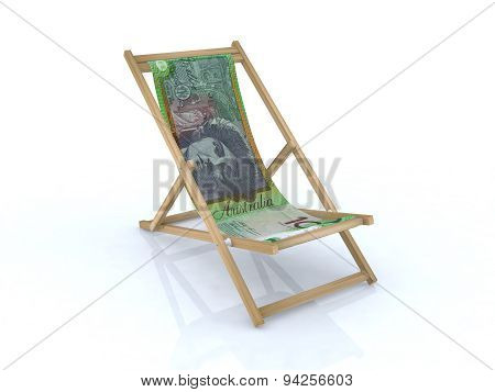 Wood Beach Chair With Australian Notes