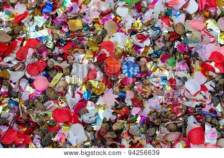 Wedding confetti color background after the celebration