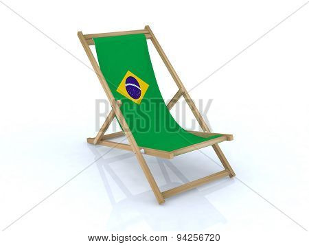 Wood Desk Chair With Brasilian Flag