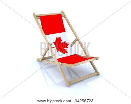 Wood Beach Chair With Canadian Flag