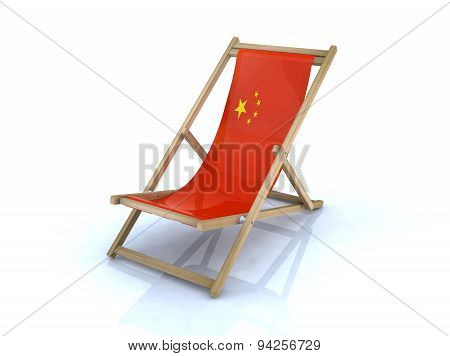 Wood Beach Chair With Chinese Flag