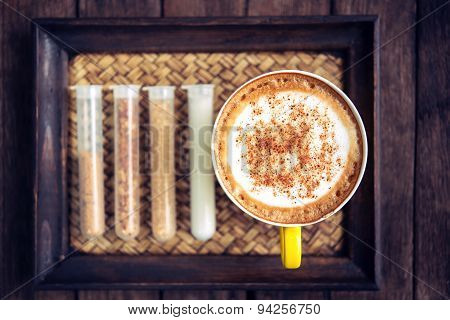 Coffee Mocha Hot On Wooden Table