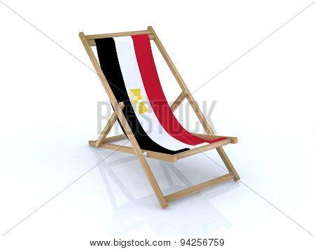 Wood Desk Chair With Arab Republic Of Egypt Flag