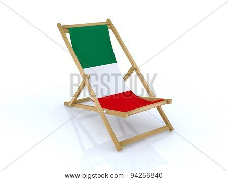 Wood Desk Chair With Italy Flag
