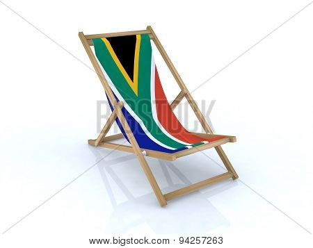 Wood Desk Chair With South Africa Flag