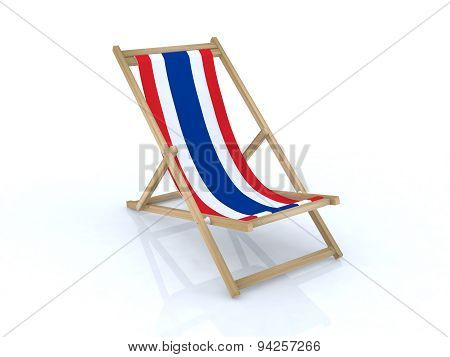 Wood Desk Chair With Thailand Flag