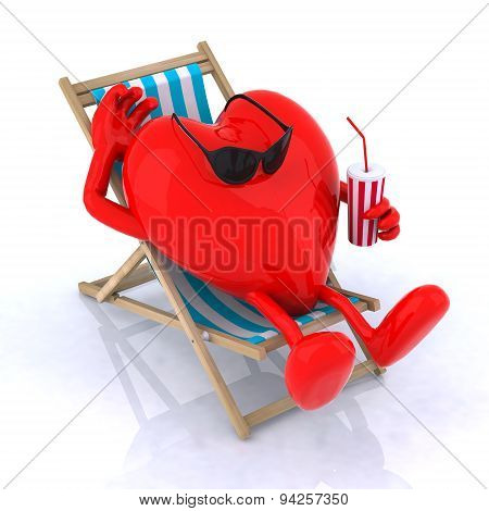 Heart Relaxes In A Beach Chair