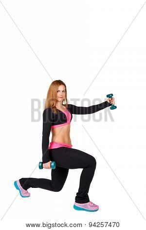 Athlete Squats With Dumbbells.
