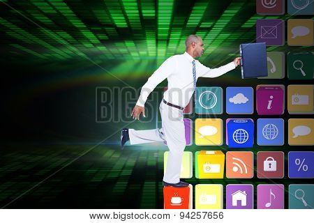 Businessman running with briefcase against digitally generated cool disco design