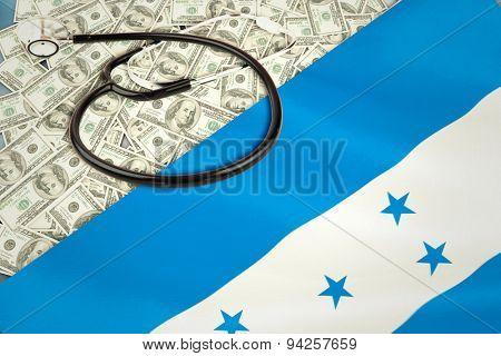 stethoscope against digitally generated honduras national flag