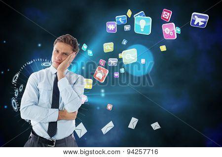 Upset thinking businessman against global communication background