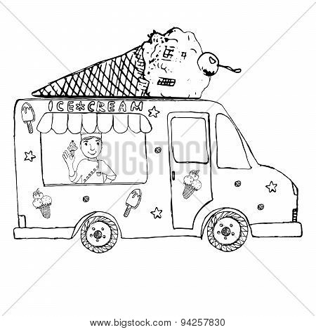 Hand Drawn Sketch Ice Cream Truck, With Yang Man Seller And Ice Cream Cone On Top, Isolated