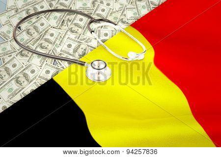 stethoscope against belgium flag