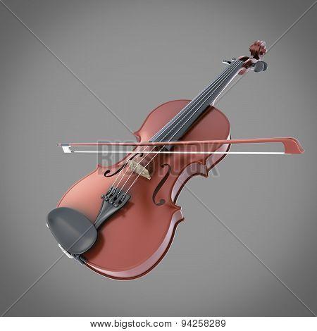 Violin On A Grey