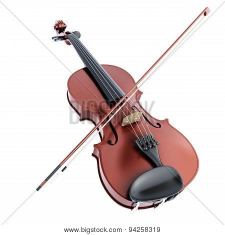 Violin And Bow On A White Background