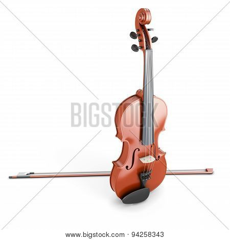 Violin On A White