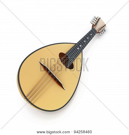 Mandolin Close-up On A White