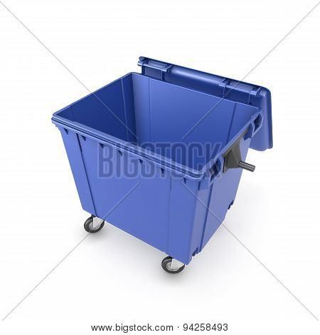 Trash Can On Wheels Isolated