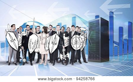 Corporate army against global business graphic in blue