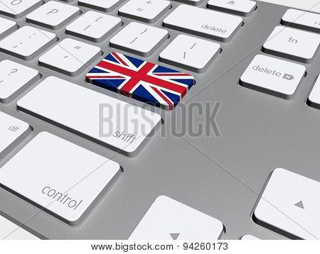 English Flag Button On The Keyboard