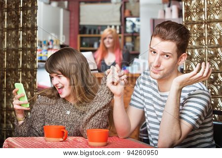 Girlfriend Talking At Phone With Boyfriend