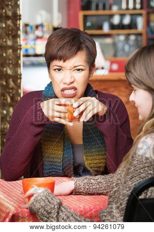 Angry Female Having Coffee