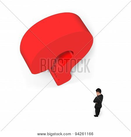 Man Thinking With Huge 3D Red Question Mark White Background