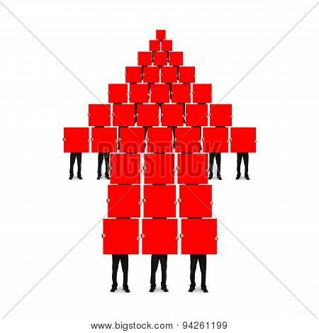 Red Arrow Up Shape Composed Of Boards Holding By Men