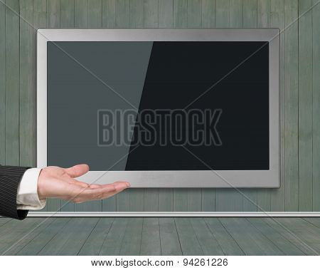 Blank Black Wide Flat Tv Screen Hanging On Wooden Wall